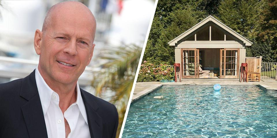 <p>Actor Bruce Willis and his family enjoy spending time in their spacious Bedford Hills, New York, home. The property is complete with a tree house for the Willis' children, a wine cellar, a lush vegetable-and-herb garden, and an impressive outdoor pool, among other amenities.<br></p>