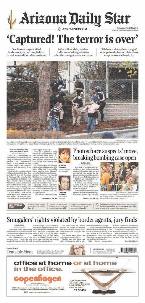 """Captured! The terror is over."" The Arizona Daily Star, Tucson, Ariz., April 20, 2013."