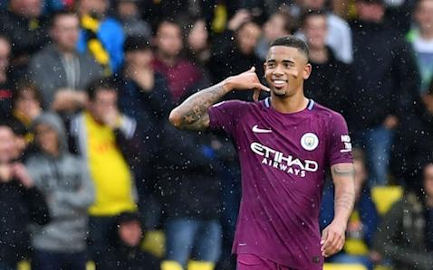 Gabriel Jesus is in line for a significant pay hike at Manchester City once the club have wrapped up new deals for David Silva and Kevin De Bruyne. Silva is in talks to extend his contract at City by a further 12 months to June 2020 while fellow midfielder De Bruyne is expected to almost double his existing £6 million-a-year salary once formal negotiations over a new deal begin in the coming weeks. But City are also ready to open talks with Jesus's representatives in order to dramatically boost the Brazil striker's current wages – thought to be around £70,000 a week – in recognition of an outstanding first nine months at the club and to ward off any potential suitors. Jesus, 20, agreed to join City from Palmeiras last summer but he did not arrive until January, since when a record of 12 goals in 15 starts and the extraordinary subsequent inflation in the transfer market has made his £27 million fee look like a bargain. Jesus celebrates his goal at Vicarage Road Credit: Ben Stansall/AFP City recognise that Jesus's standing has increased markedly in little time and that his existing deal, which runs until June 2021, is no longer reflective of his position as one of the key players in Guardiola's side and one of the most highly regarded young talents in world football. The Manchester club had beaten off fierce competition for Jesus, including from Real Madrid, and it is understood the youngster could have earned more by moving elsewhere at that time but any new deal at the Etihad Stadium could potentially double his salary, including bonuses. City's pay structure is heavily incentivised, with players often accepting lower basics in return for very generous bonuses if performance targets are met.Jesus is known to be very happy, settled in and excited by the squad Guardiola has assembled and City's prospects. Jesus's arrival has also served to raise Sergio Aguero's game and the pair have formed a formidable strike force so far this seasonen route to helping City reach th