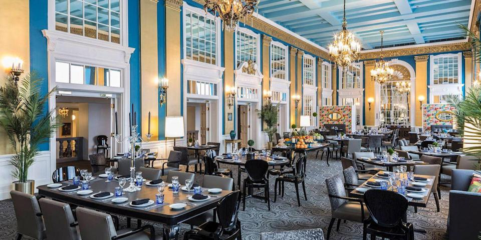 """<p>The <a href=""""https://www.tripadvisor.com/Hotel_Review-g60811-d89353-Reviews-Lord_Baltimore_Hotel-Baltimore_Maryland.html"""" rel=""""nofollow noopener"""" target=""""_blank"""" data-ylk=""""slk:Lord Baltimore"""" class=""""link rapid-noclick-resp"""">Lord Baltimore</a> has been a <a href=""""https://www.bestproducts.com/fun-things-to-do/g3373/best-baltimore-hotels/"""" rel=""""nofollow noopener"""" target=""""_blank"""" data-ylk=""""slk:Charm City"""" class=""""link rapid-noclick-resp"""">Charm City</a> mainstay since 1928. Martin Luther King, Jr. and other luminaries have visited the hotel, which is located near the Inner Harbor. The hotel is noted for its crystal chandeliers, gilded columns, and murals in the Calvert Ballroom. </p>"""