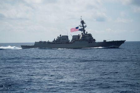 FILE PHOTO: The Arleigh Burke-class guided-missile destroyer USS Wayne E. Meyer (DDG 108) transits the South China Sea, April 11, 2017. Navy photo by Mass Communication Specialist 3rd Class Danny Kelley/Handout via REUTERS