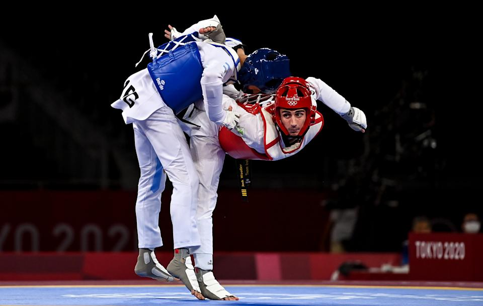 Tokyo , Japan - 24 July 2021; Jack Woolley of Ireland in action against Lucas Guzman of Argentina during the men's -58Kg taekwondo round of 16 at the Makuhari Messe Hall during the 2020 Tokyo Summer Olympic Games in Tokyo, Japan. (Photo By Brendan Moran/Sportsfile via Getty Images)