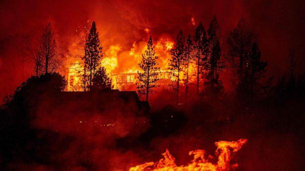 PHOTO: A home is engulfed in flames during the 'Creek Fire' in the Tollhouse area of unincorporated Fresno County, Calif., Sept. 8, 2020. (Josh Edelson/AFP via Getty Images)