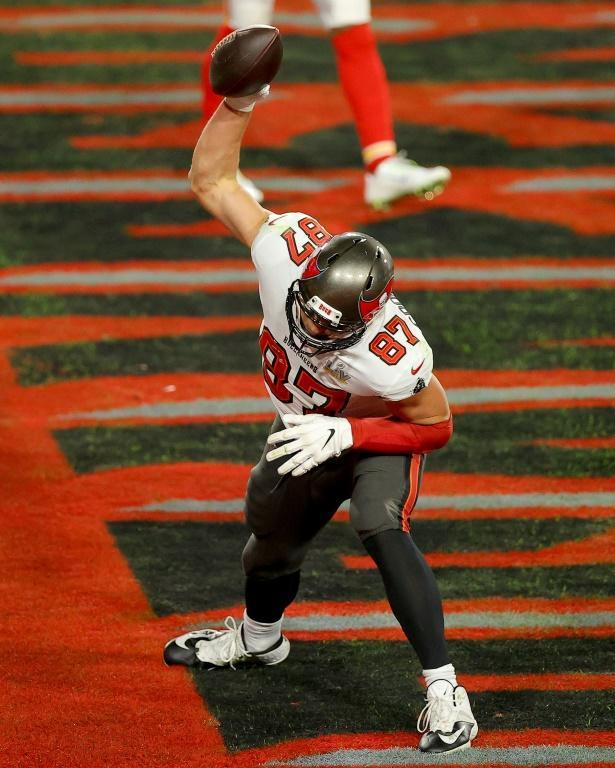 Tampa Bay's Rob Gronkowski spikes the ball after scoring one of his two touchdowns in the Buccaneers' Super Bowl win over the Kansas City Chiefs