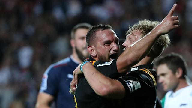 Chiefs overcame a half-time deficit to make it five Super Rugby wins out of five at the expense of Bulls and Hurricanes saw off Reds.