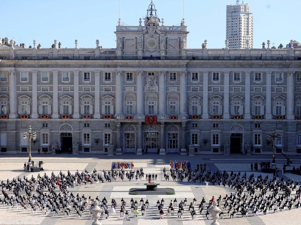 A memorial is held in tribute to coronavirus victims at the Royal Palace's parade court in Madrid, Spain, 16 July 2020: Juanjo Martin/EPA/Pool