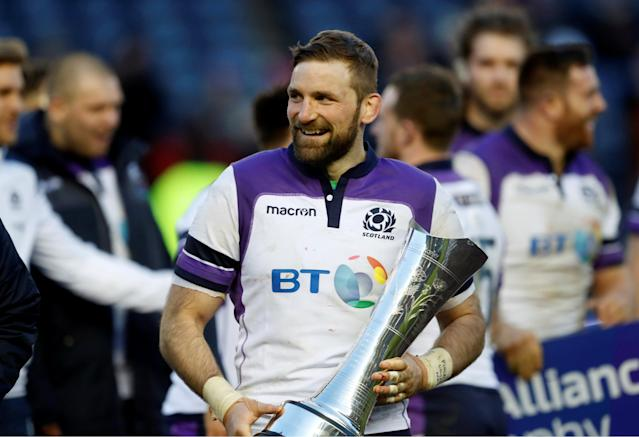 Rugby Union - Six Nations Championship - Scotland vs France - BT Murrayfield, Edinburgh, Britain - February 11, 2018 Scotland's John Barclay celebrates with a trophy after the match REUTERS/Russell Cheyne