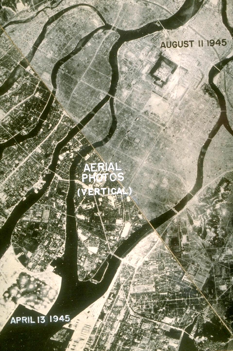 A composite aerial image showing Hiroshima before and after the atomic bomb