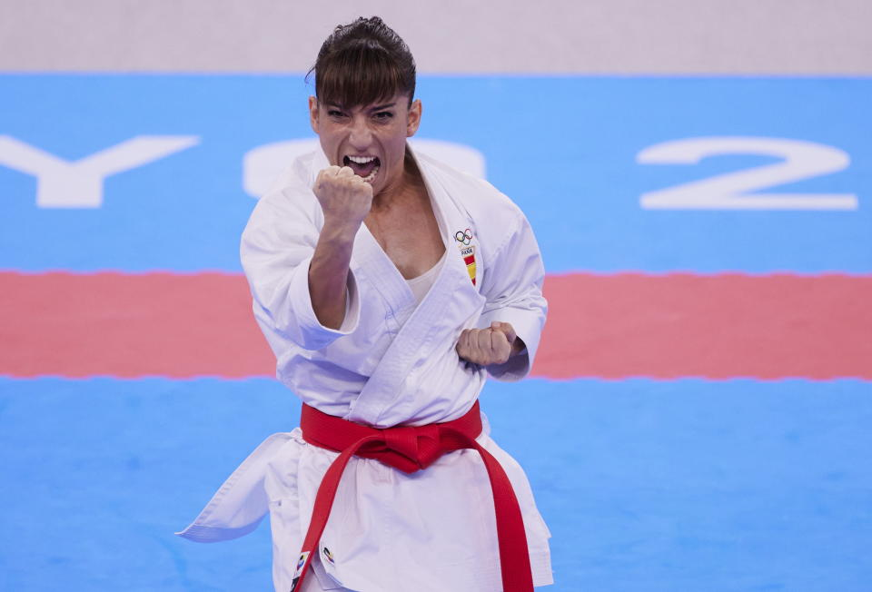 TOKYO, JAPAN - AUGUST 05: (BILD ZEITUNG OUT) Sandra Sanchez of Spain compete in the Women's Kata Final Karate Bout on day thirteen of the Tokyo 2020 Olympic Games at Nippon Budokan on August 5, 2021 in Tokyo, Japan. (Photo by Berengui/DeFodi Images via Getty Images)