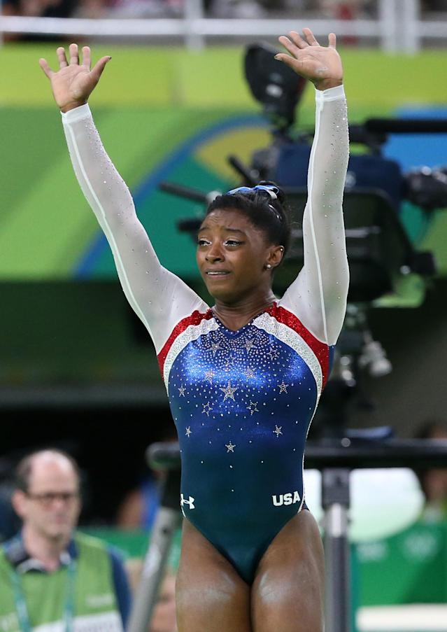 <p>Simone Biles now has three gold medals with two events left at the Rio Games. (Getty) </p>