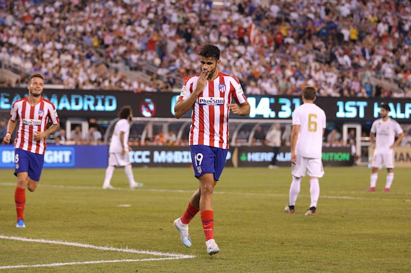 Jul 26, 2019; East Rutherford, NJ, USA; Atletico de Madrid forward Diego Costa (19) reacts after scoring his third goal against Real Madrid during the first half of an International Champions Cup soccer series match at MetLife Stadium. Mandatory Credit: Brad Penner-USA TODAY Sports