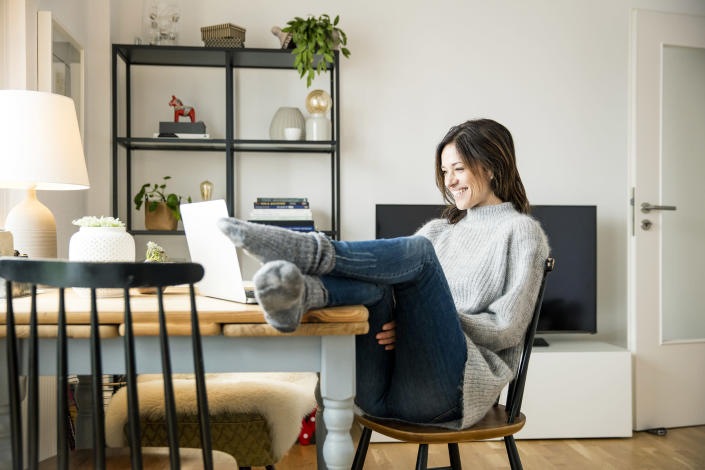 You can find a nice balance between dressing up and dressing down for video calls. (Getty Images)