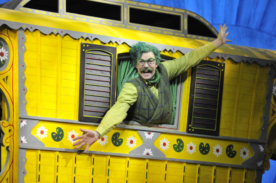 LONDON, ENGLAND - JUNE 22: Rufus Hound as Mr Toad in Julian Fellowes adaptation of Kenneth Grahame's The Wind In The Willows directed by Rachel Kavanaugh at the London Palladium on June 22, 2017 in London, England. (Photo by Robbie Jack/Corbis via Getty Images)