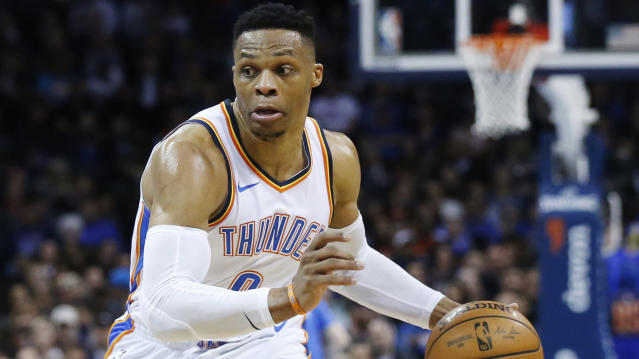 Russell Westbrook is headed to Houston, with the Rockets sending Chris Paul and two first-round picks to Oklahoma City while swapping two other picks. (AP)