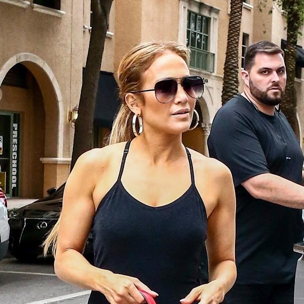 The superstar, Jennifer Lopez aka J. Lo, looked ready for a photo shoot en route to the gym with Valentino's handbag.
