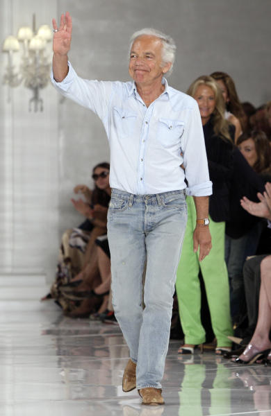 "FILE - This Sept. 15, 2011 file photo shows designer Ralph Lauren acknowledging the audience after the spring 2012 Ralph Lauren Collection was modeled during Fashion Week in New York. PBS' ""Masterpiece"" program said Monday, Sept. 10, 2012, that the Ralph Lauren Corp. will become a national sponsor, marking the company's first TV sponsorship. ""Masterpiece"" executive producer Rebecca Eaton called Lauren's support a tribute to the program, home of the hit British period drama ""Downton Abbey."" During last February's New York Fashion Week, Lauren presented his fall 2012 collection to music from ""Downton Abbey,"" telling The Associated Press that he's ""always loved the heritage and romance of England.""(AP Photo/Richard Drew, file)"
