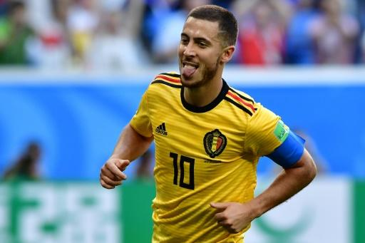 Belgium forward Eden Hazard celebrates after scoring against England in the World Cup third place play-off