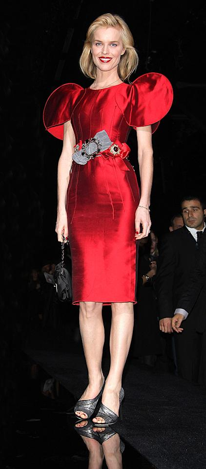 "Thanks to the unsightly shoulder pads on her scarlet Dolce & Gabbana sheath, Eva Herzigova should hit the football field instead of the runway. Venturelli/<a href=""http://www.wireimage.com"" target=""new"">WireImage.com</a> - March 2, 2009"