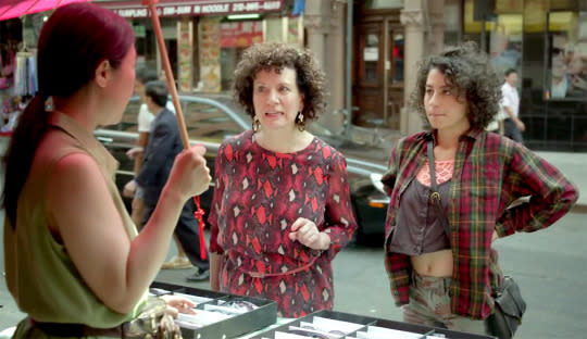 """<p>Ilana Glazer and Abby Jacobson bring the raunch: Abby's bed-date with Jeremy takes an unexpected turn when he brings out a strap-on dildo for her to use. Panicked, Abby sneaks a call to Ilana, who is elated: """"It's a dream come true; thank you for sharing this with me!"""" All this, plus Susie Essman being transcendently rude as Ilana's mom while the two get mani-pedis. <i>— KT</i><br /></p><p><i>(Credit: Comedy Central)</i></p>"""