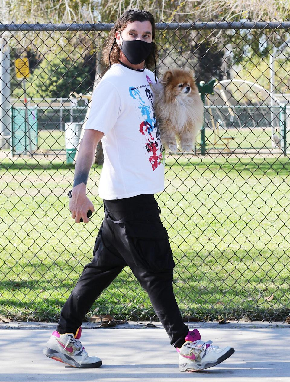 <p>Gavin Rossdale and his pup keep it moving on Friday in Los Angeles.</p>