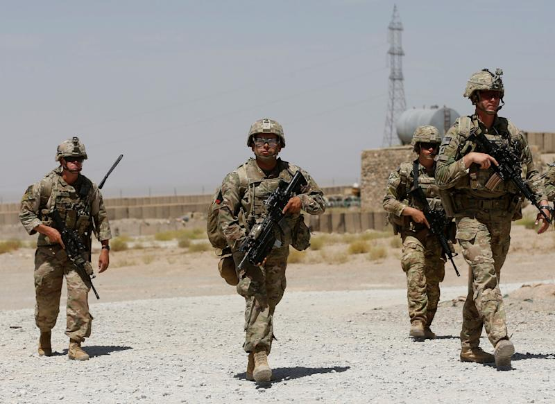 U.S. troops patrol at an Afghan National Army (ANA) Base in Logar province, Afghanistan August 7, 2018. REUTERS/Omar Sobhani