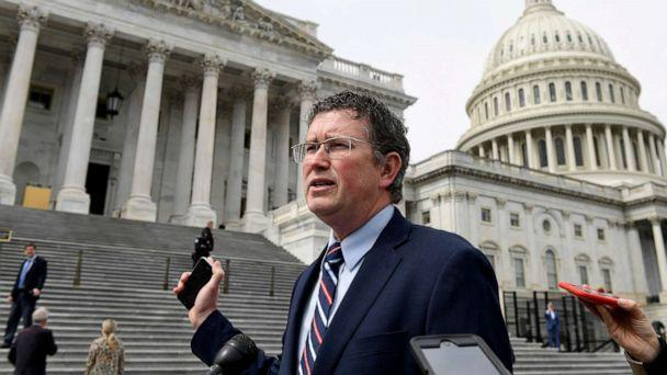 PHOTO: Rep. Thomas Massie, R-Ky., leaves Capitol Hill in Washington, March 27, 2020, after attempting to slow action on a rescue package. (Susan Walsh/AP)