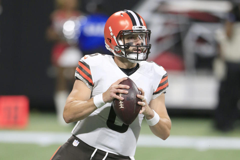 ATLANTA, GA - AUGUST 29: Quarterback Baker Mayfield #6 of the Cleveland Browns during the final preseason NFL game between the Cleveland Browns and the Atlanta Falcons on August 29, 2021 at the Mercedes-Benz Stadium in Atlanta, Georgia.  (Photo by David J. Griffin/Icon Sportswire via Getty Images)