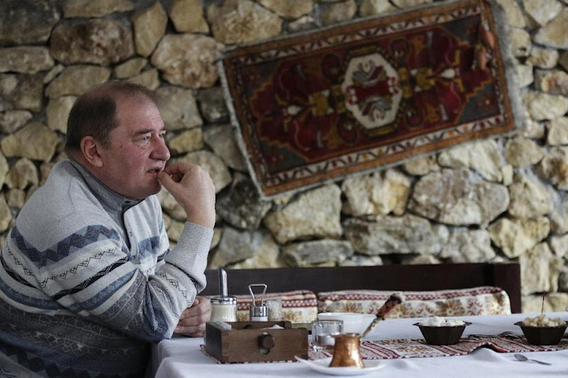Mejlis member Ilmi Umerov, former head of the Bakhchysaray's district, pictured during an interview in Bakhchysaray, Crimea (AFP Photo/Max Vetrov)