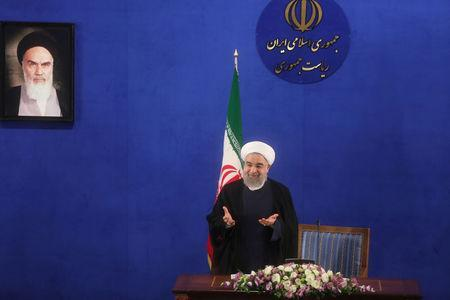 Iranian president Hassan Rouhani gestures during a news conference in Tehran, Iran, May 22, 2017. TIMA via REUTERS
