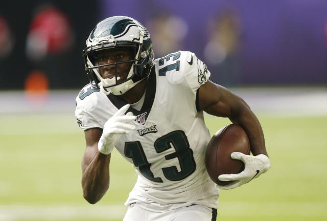 FILE - In this Oct. 13, 2019 file photo, Philadelphia Eagles wide receiver Nelson Agholor runs upfield after catching a pass during the first half of the team's NFL football game against the Minnesota Vikings in Minneapolis. The Las Vegas Raiders have agreed to a one-year contract with free agent Agholor to add a veteran receiver on offense. (AP Photo/Jim Mone, File)
