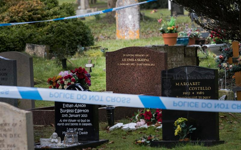 Police tape surrounds the grave of Sergei Skripal's wife - London News Pictures Ltd