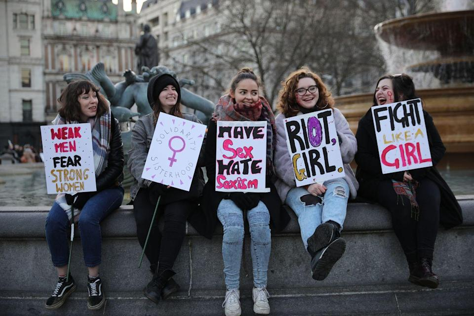 <p>Protesters take part in the Women's March in London, England. The Women's March originated in Washington D.C., but soon spread to across the globe, calling on all concerned citizens to stand up for equality and inclusion. </p>