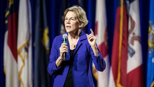 PHOTO: Democratic presidential candidate, Sen. Elizabeth Warren addresses the audience at the Environmental Justice Presidential Candidate Forum at South Carolina State University on November 8, 2019 in Orangeburg, South Carolina. (Sean Rayford/Getty Images)