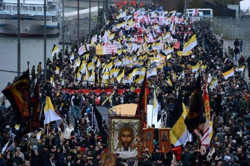 The protesters waved the black and yellow flags of pre-revolutionary Russia
