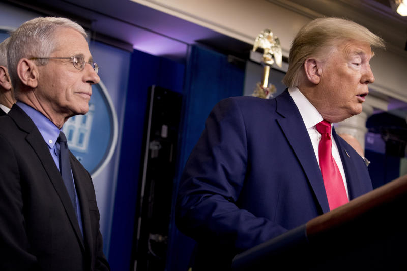President Donald Trump, accompanied by National Institute for Allergy and Infectious Diseases Director Dr. Anthony Fauci, left, speaks about the coronavirus during a news conference in the press briefing room at the White House, Saturday, Feb. 29, 2020, in Washington. (AP Photo/Andrew Harnik)