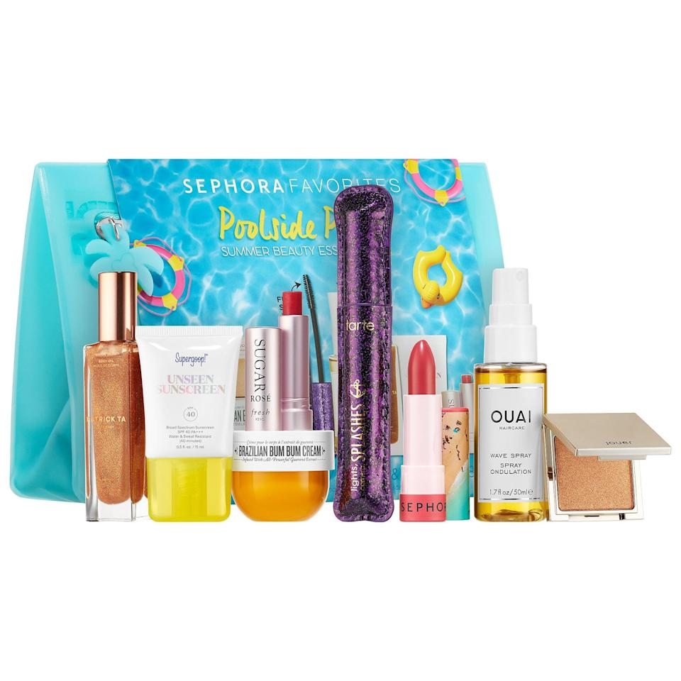 "<p>Summer is coming and the goodies in this new <a href=""https://www.popsugar.com/buy/Sephora-Favorites-Mini-Summer-Makeup-Essentials-Set-568865?p_name=Sephora%20Favorites%20Mini%20Summer%20Makeup%20Essentials%20Set&retailer=sephora.com&pid=568865&price=39&evar1=bella%3Aus&evar9=47425767&evar98=https%3A%2F%2Fwww.popsugar.com%2Fbeauty%2Fphoto-gallery%2F47425767%2Fimage%2F47425772%2FSephora-Favorites-Mini-Summer-Makeup-Essentials-Set&prop13=api&pdata=1"" class=""link rapid-noclick-resp"" rel=""nofollow noopener"" target=""_blank"" data-ylk=""slk:Sephora Favorites Mini Summer Makeup Essentials Set"">Sephora Favorites Mini Summer Makeup Essentials Set</a> ($39) can be used to prepare for that time outside (like Sol de Janeiro Brazilian Bum Bum Cream and Supergoop Unseen Sunscreen) . . . or fake a day in the sun with highlighter, wave spray, and glow oil instead.</p>"