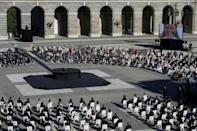 Guests attend a state ceremony in honour of Covid-19 victims outside the Royal Palace in Madrid on July 15, 2021