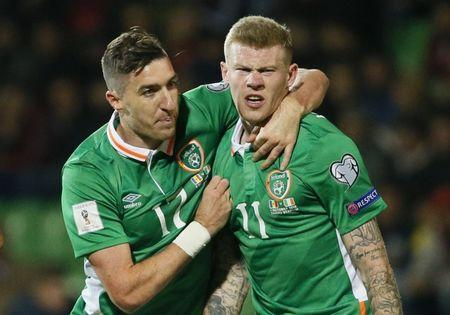 Football Soccer - Moldova v Republic of Ireland - 2018 World Cup Qualifying European Zone - Group D - Stadionul Zimbru, Chisinau, Moldova - 9/10/16 Republic of Ireland's James McClean celebrates scoring their second goal with Stephen Ward Reuters / Gleb Garanich Livepic EDITORIAL USE ONLY. - RTSRHUQ
