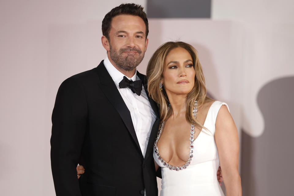 VENICE, ITALY - SEPTEMBER 10, 2021: Jennifer Lopez, Ben Affleck arrives arrives on the red carpet for 'The Last Duel' during the 78th Venice International Film Festival in Venice, Italy. (Photo credit should read P. Lehman/Barcroft Media via Getty Images)