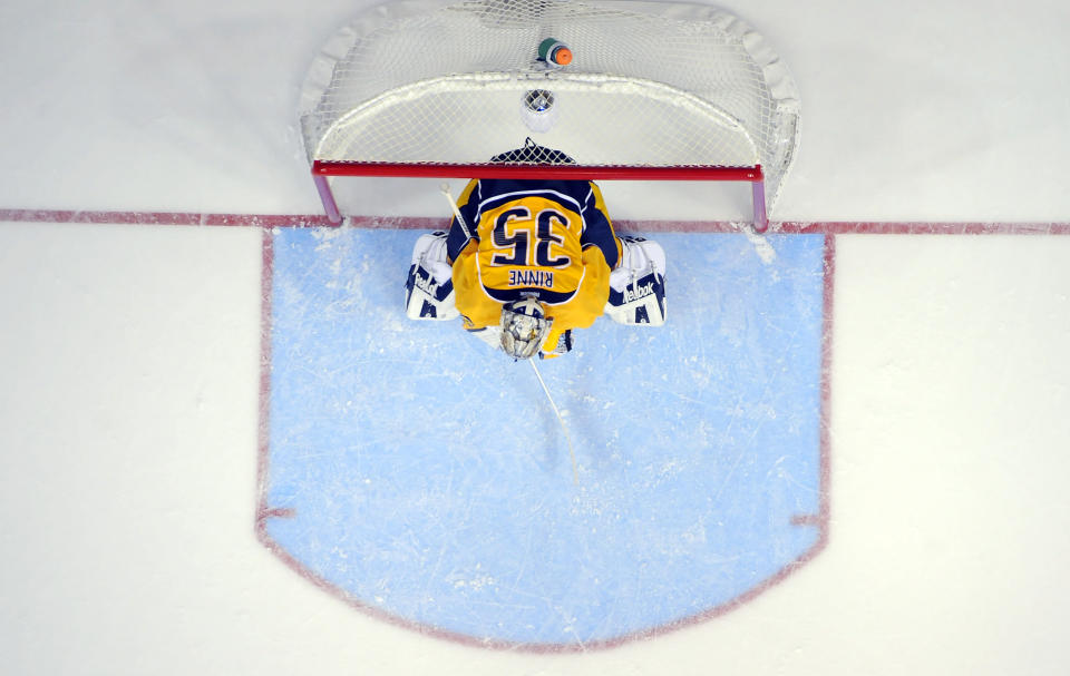 Dec 27, 2014; Nashville, TN, USA; Nashville Predators goalie Pekka Rinne (35) during the third period against the Philadelphia Flyers at Bridgestone Arena. The Predators won 4-1. (Christopher Hanewinckel-USA TODAY Sports)