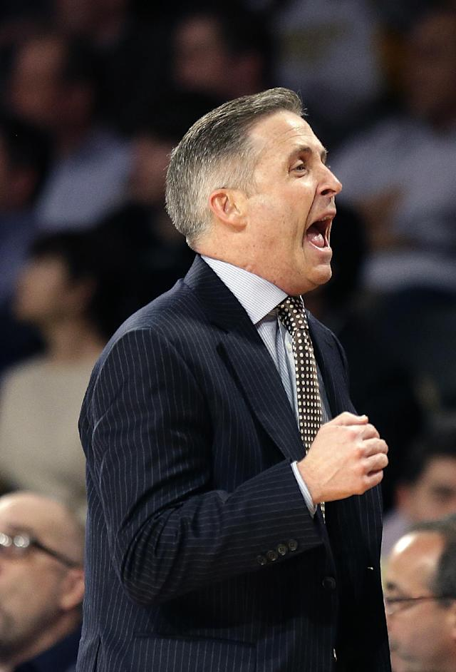 Georgia Tech head coach Brian gregory reacts in the first half of an NCAA college basketball game against the Pittsburgh Tuesday, Jan. 14, 2014, in Atlanta. (AP Photo/John Bazemore)