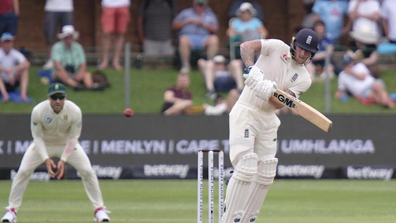 England's Ben Stokes was unbeaten on 1** at lunch on day two of the third Test in Port Elizabeth