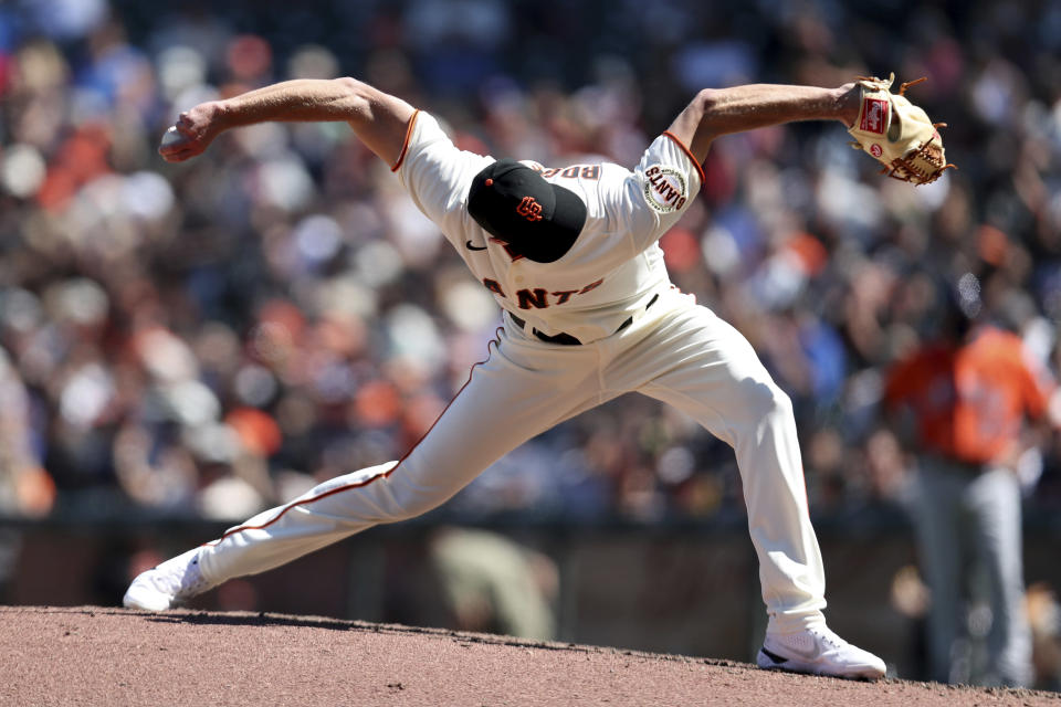 San Francisco Giants' Tyler Rogers throws against the Houston Astros during the eighth inning of a baseball game in San Francisco, Sunday, Aug. 1, 2021. (AP Photo/Jed Jacobsohn)