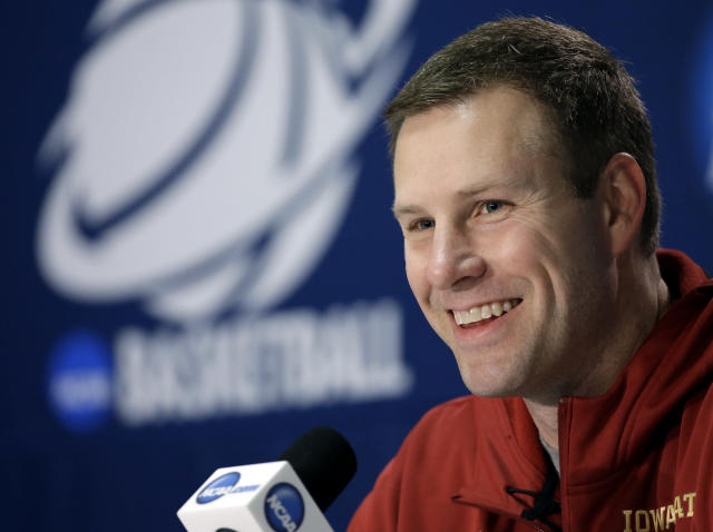 Iowa State coach Fred Hoiberg smiles as he answers a question during an NCAA college basketball tournament news conference Saturday, March 22, 2014, in San Antonio. Iowa State will play North Carolina Sunday. (AP Photo/David J. Phillip)