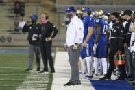 Tulsa head coach Philip Montgomery looks on during the first half of an NCAA college football game against SMU in Tulsa, Okla., Saturday, Nov. 14, 2020. (AP Photo/Joey Johnson)