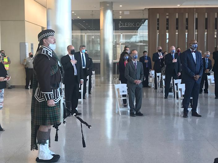 Will County Sheriff's Office honor guard opened the event celebrating the new Will County Courthouse in downtown Joliet. Image via John Ferak/Patch