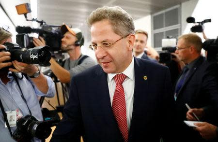 FILE PHOTO: Hans-Georg Maassen, President of the Federal Office for the Protection of the Constitution arrives for a meeting of the parliamentary committee, that oversees German intelligence agencies in Berlin, Germany, September 12, 2018. REUTERS/Fabrizio Bensch