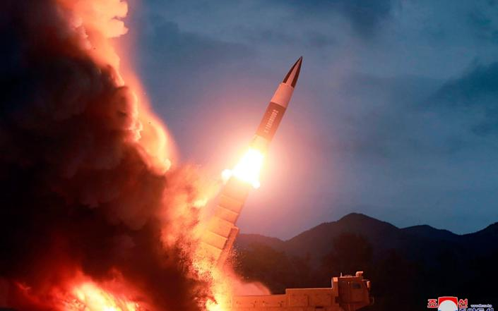 A short-range ballistic missile is fired from the east coast of North Korea in 2019 - AP