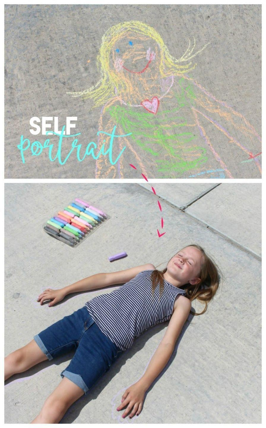 """<p>Try a chalk art project that doubles as a form of self expression: Have someone lie down on the sidewalk while you trace their silhouette with chalk. Then let the traced person decorate so it looks like them. Add clothes, jewelry, accessories, and more.</p><p><em><a href=""""https://www.agirlandagluegun.com/2016/07/36444.html"""" rel=""""nofollow noopener"""" target=""""_blank"""" data-ylk=""""slk:Get the tutorial from a Girl and a Glue Gun »"""" class=""""link rapid-noclick-resp"""">Get the tutorial from a Girl and a Glue Gun »</a></em></p>"""