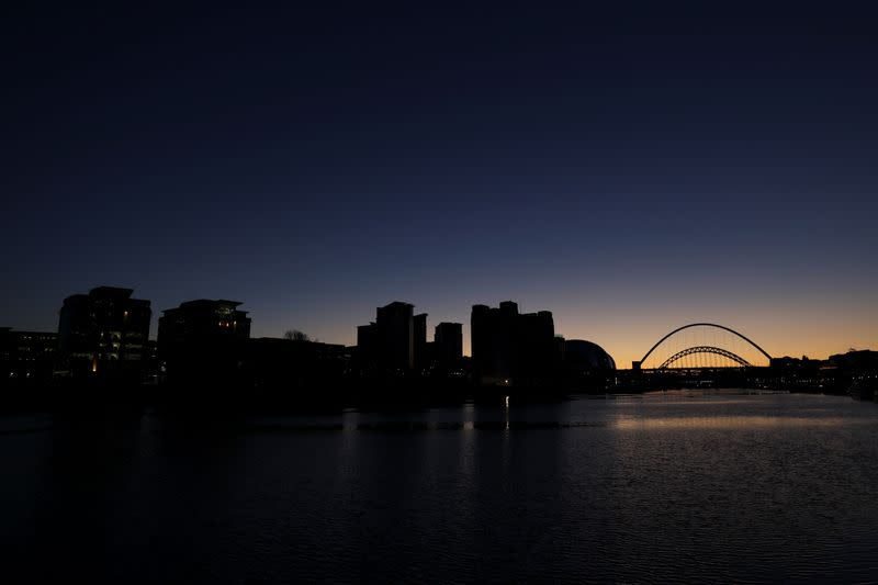 Sunset ahead of the start of tier 4 restrictions as the coronavirus disease (COVID-19) outbreak continues, at Quayside in Newcastle